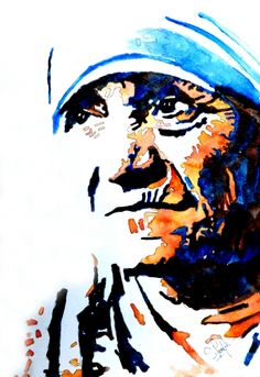 Abstract Portrait Painting - Mother Teresa by Steven Ponsford Abstract Portrait Painting, Watercolor Portraits, Portrait Art, Watercolor Paintings, Potrait Painting, Flower Watercolor, Watercolors, Canvas Art, Canvas Prints