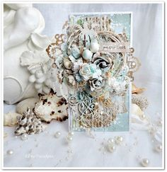 Project created by More Than Words DT member Elena Tretyakova for the August… Vintage Cards, Vintage Paper, Vintage Ideas, Scrapbooking Layouts, Scrapbook Paper, Create Christmas Cards, Mixed Media Cards, Shabby Chic Cards, Thing 1