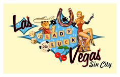 vintage postcard This postcard shows a Vegas in one picture - Sin City, with women there and luck going on. This is a good way to tell about city.