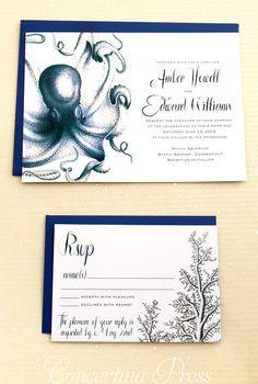 Navy Octopus #Wedding Invitations