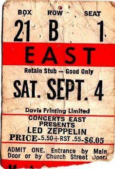 Led Zeppelin ticket stub