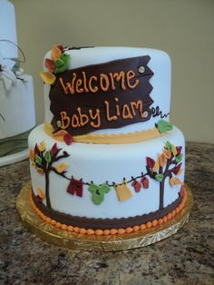 Desserts by Lori - Baby Shower Cakes Baby Shower Menu, Baby Shower Fall, Fall Baby, Baby Shower Cakes, Baby Shower Parties, Baby Shower Themes, Baby Boy Shower, Shower Ideas, October Baby Showers