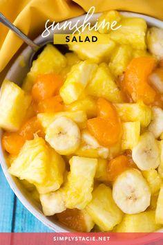 Sunshine Salad Recipe - Simply Stacie Jello Recipes, Fruit Salad Recipes, Ww Recipes, Snack Recipes, Cooking Recipes, Fruit Salads, Fruit Dips, Jello Desserts, Banana