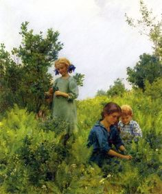 Blueberries And Ferns ~ by Charles Courtney Curran (1861-1942), American artist