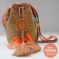 Adorned handmade Wayuu mochila by MissAbigailShop on Etsy, $135.00