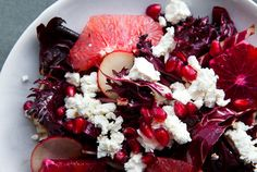 Winter Purples...chevre with pomegranate, blood orange, radicchio, and radishes...