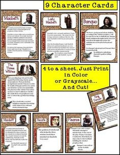 Macbeth Task Cards: Characters, Summaries, Terms, Major Points, multiple choice