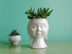 Vintage Vasen - ☘ Vintage Bubikopf Übertopf Kopf 50er 60er - ein Designerstück…