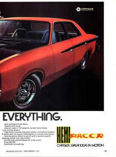 1971 VH Chrysler Valiant Pacer 265 Page 2 Aussie Original Magazine Advertisement Australian Muscle Cars, Aussie Muscle Cars, Vintage Ads, Vintage Posters, Chrysler Valiant, Australian Vintage, Chrysler New Yorker, Chrysler Cars, Mopar