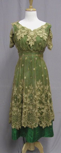 1918 dinner gown, lace overlay over green silk