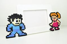 Mega Man and Roll Perler Bead Picture Frame