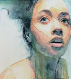 """Eutierria"" - Ali Cavanaugh, watercolor on clay, 2016 {figurative realism art beautiful female head young woman face portrait cropped painting #loveart} alicavanaugh.com"