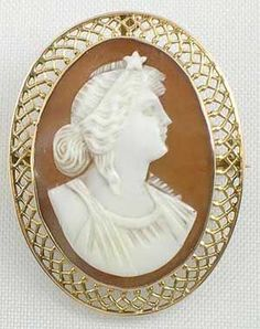 Cameo jewelry gold mounted small victorian carnelian shell filigree victorian sardonyx shell antique cameo brooch woman with star in head dress photo courtesy of sunday and sunday fine antique jewelry aloadofball Choice Image