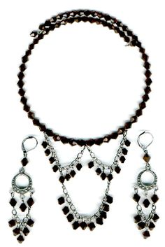 #Fashion jewellery #Gothic style  #N352 necklace set, Austrian crystals