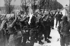 Surrendering Waffen-SS troops guarded by Rainbow Infantry division soldiers.  In the background to the right is Marguerite Higgins, the famous WWII journalist, speaking with Lt. Colonel Walter Fellenz, of the 222nd Infantry Regiment, 42nd Rainbow Infantry division. [oversize print]