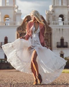 """Spell Designs on Instagram: """"Creative pixie and muse in her own right @sarahloven in our latest luxe lace offering the Wild Belle Gown + our Wild Belle suede jacket in Coral ✔️ {full shoot coming soon}"""""""