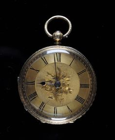 A Victorian gentleman's 18ct. gold key wound, open faced pocket watch #watch
