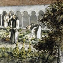 Reconstruction of the infirmary cloister at Rievaulx Abbey
