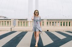 A little grey two pocket tee dress! This simple little dress pairs great with sneaker or your favorite sandals. #ootd #greydress #tdress