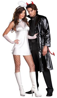 Angel and devil couples costumes Cute Couple Halloween Costumes, Halloween Looks, Halloween Party Decor, Halloween 2019, Halloween Outfits, Cool Costumes, Halloween Diy, Costume Ideas, Halloween Couples