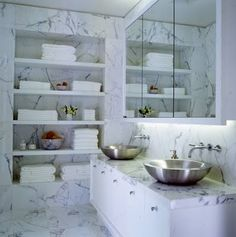 Marble bathroom with great storage