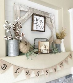 Best Living Room Fall Decorations Ideas 305 – GooDSGN Fall Mantel Decorations, Thanksgiving Decorations, Thanksgiving Mantle, Mantel Ideas, Fire Place Mantel Decor, Decorating A Mantle, Mantal Decor, September Decorations, Rustic Mantle Decor