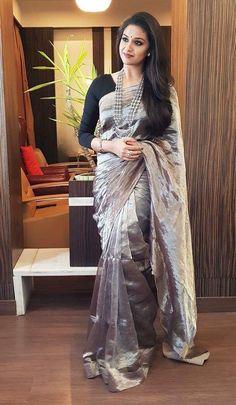 ec8589ac809b6 Exclusive Banarasi blended Kanjeevaram inspired ash Tissue Silk saree with  highly popular designer blouses