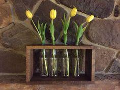 Handmade wood flower holder with bottles table by WondersbyWood