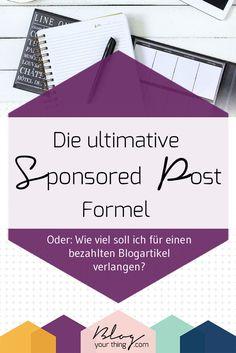 Hast du dich schon einmal gefragt, wie viel du für einen bezahlten Blogartikel verlangen sollst? Hier versuche ich die ultimative Sponsored Post Formel herauszufinden!