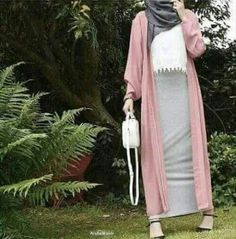 Colorful fashionable hijab outfits long pink cardigan with pencil skirt hijab o. Colorful fashionable hijab outfits long pink cardigan with pencil s Islamic Fashion, Muslim Fashion, Modest Fashion, Girl Fashion, Fashion Outfits, Modest Dresses, Modest Outfits, Skirt Outfits, The Cardigans