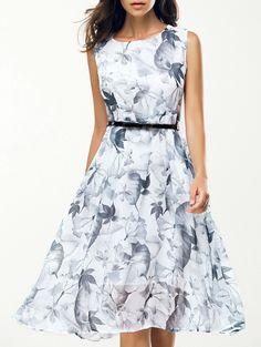 $14.77 Graceful Women's Jewel Neck Sleeveless Floral Belted Dress                                                                                                                                                                                 More