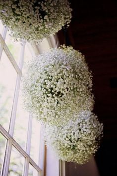 DIY Baby's Breathe, Burlap & Lace Wedding Ideas | Confetti Daydreams - Get the DIY tutorial for these Baby's Breath Pomander Balls, perfect to suspend amongst your wedding reception tables