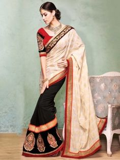 Cream And Black Cotton Saree With Resham And Zari Embroidery Work www.saree.com
