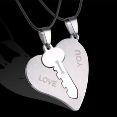 Couple Necklaces Set Pendant Necklace Engrave I Love You Matching Hearts Key