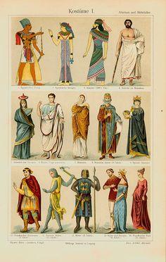 Kostüme Altertum Mittelalter Chromos Originale 100 J Xz
