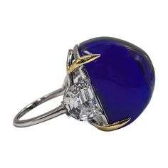 Superb faux French pyramid-cut cabochon Royal Kashmir Blue Sapphire ring