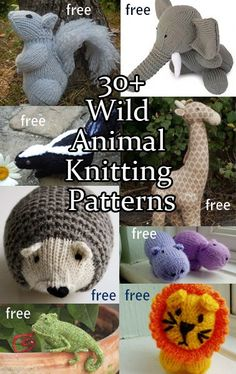 Wild Animal Knitting Patterns including squirrel, lions, elephants, monkeys, giraffes, skunk, chameleon, beaver and more