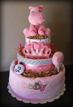 Pink Things | Baby Girl 3 Tier Pink Hippo Diaper Cake by LulabellCreations | Craft ...
