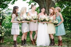 Mariana, I think this is cute. Kind of a Holly Hobby look. But may be way too underdressed for your style.  bridesmaid dresses country theme wedding | Vintage Style Country Wedding: Jaclyn + Zach