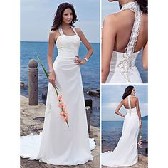 Sheath/Column Halter Court Train Chiffon Wedding Dress  – USD $ 127.99