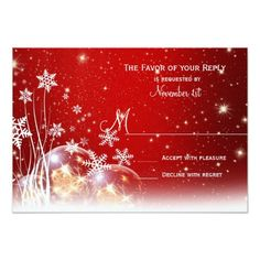 Red White Christmas Holiday Wedding RSVP Cards