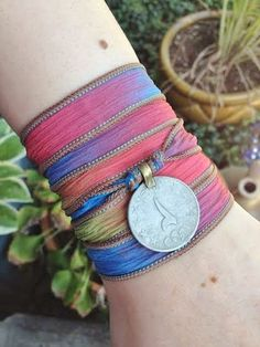 Gypsy Soul Boho Silk Wrap Bracelet with Tribal Kuchi Coin, Bellydance, Hooping, Yoga Bracelet, Red Blue Green Bohemian Gypsy Style Jewelry