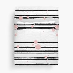 'Rough Black Stripes and Pink Dots' Duvet Cover by MadoMade Floor Pillows, Throw Pillows, Duvet Cover Design, College Dorm Bedding, Free Stickers, Duvet Insert, Black Stripes, Chiffon Tops, Duvet Covers