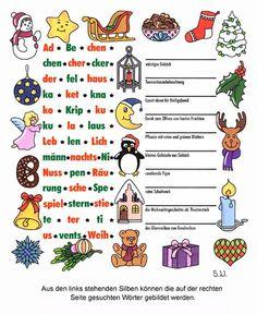 Weihnachtsrätsel, Silbenrätsel mit weihnachtlichen Begriffen, Bilderrätsel French Worksheets, Student Motivation, Xmas, Christmas, Hama Beads, Diy And Crafts, Kindergarten, German, Language
