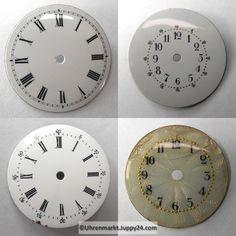 4 St. Emaille Zifferblätter für Taschenuhren, Zifferblatt, pocket Cooking Timer, Clock, Watches, Decor, Enamel, Watch, Decorating, Wristwatches, Clocks