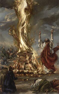 Elijah calls down fire on priests of Baal: 1 Kings 18 Scripture Art, Bible Art, Bible Scriptures, Bible Pictures, Jesus Pictures, Bible Illustrations, Prophetic Art, Biblical Art, Christian Devotions