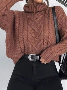 Casual Pile Collar Solid Color Twist Loose Knit Sweater – linenlooks sweaters outfits,sweater styles outfits,outfit sweater Trendy Fall Outfits, Casual Winter Outfits, Winter Fashion Outfits, Retro Outfits, Look Fashion, Stylish Outfits, Winter Sweater Outfits, Early Fall Outfits, Fall Outfits For School