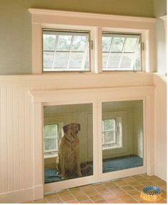 Love this doggie door because it would also work as a crate at night and they could have access to the outside at night and early morning.  I don't know how it would fit into the house though
