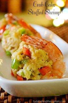 Crab Cake Stuffed Shrimp - Lady Behind The Curtain. This beautiful crab cake stuffed shrimp appetizer will bring a little bit of sophistication to your party and add perfection to your appetizer table. Shrimp Dishes, Fish Dishes, Shrimp Meals, Shrimp Pasta, Crab Recipes, Appetizer Recipes, Seafood Appetizers, Picnic Recipes, Kitchen Interior