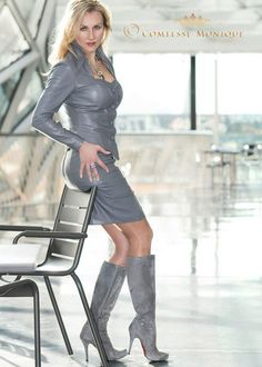 """boot-fetish-divas: """" Boot fetish """" Nice leather suit for comtesse Monique … Grey Fashion, Leather Fashion, Fashion Looks, Feminine Fashion, Belle Lingerie, Crazy Outfits, Fall Outfits, Latex, Sexy Stiefel"""